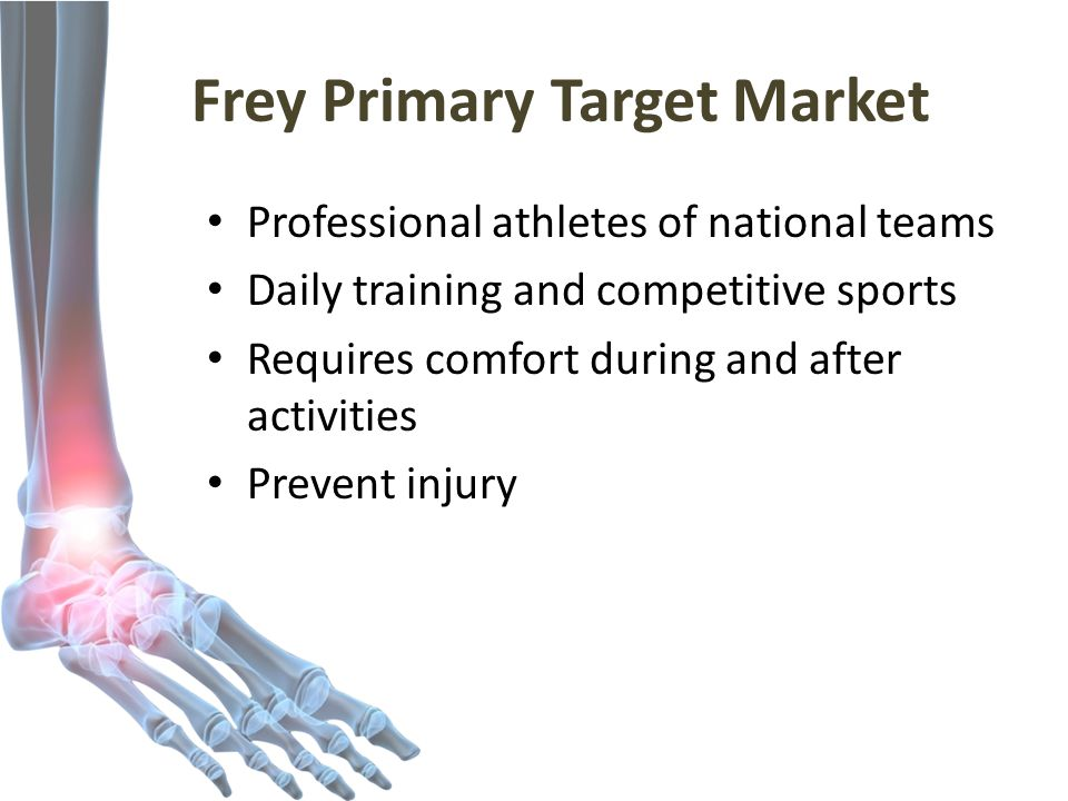 Frey Primary Target Market Professional athletes of national teams Daily training and competitive sports Requires comfort during and after activities Prevent injury
