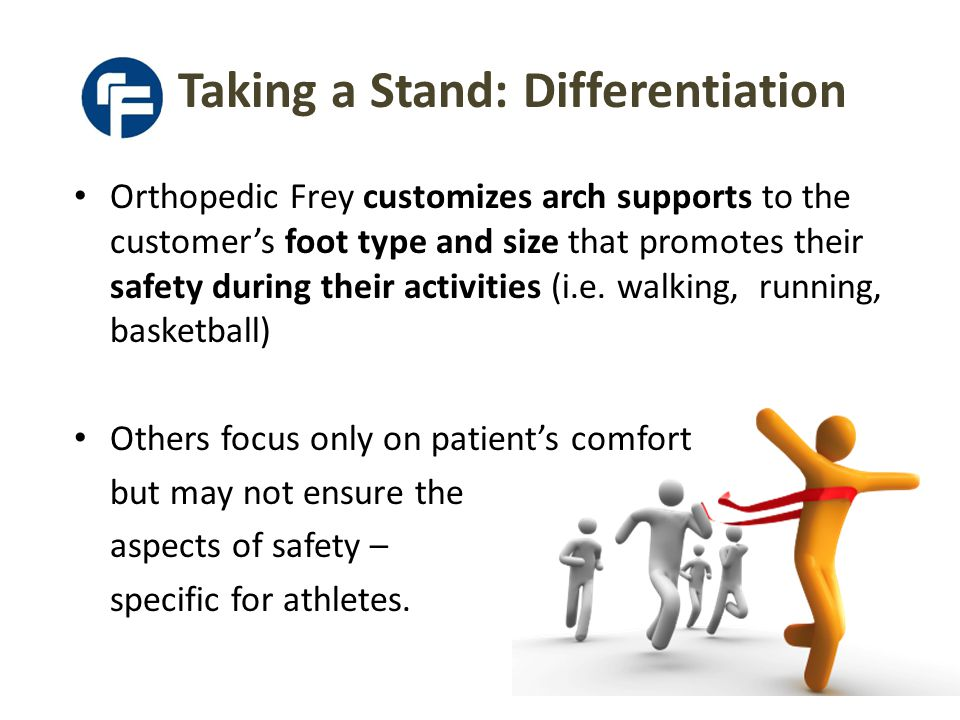Taking a Stand: Differentiation Orthopedic Frey customizes arch supports to the customer's foot type and size that promotes their safety during their activities (i.e.