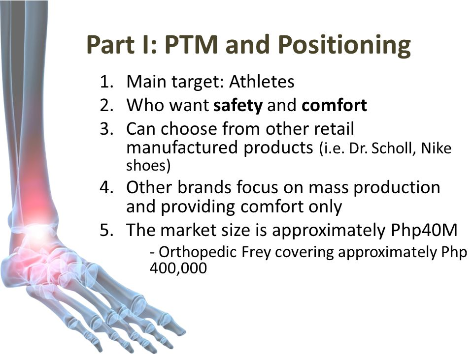 Part I: PTM and Positioning 1.Main target: Athletes 2.Who want safety and comfort 3.Can choose from other retail manufactured products (i.e.