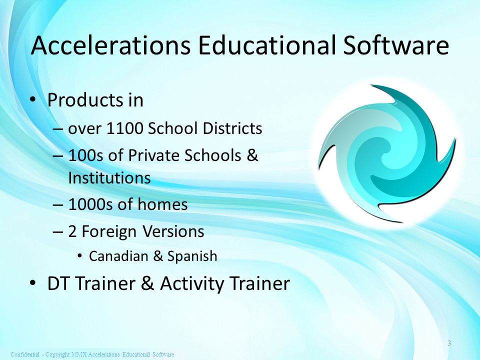 Confidential - Copyright MMX Accelerations Educational Software Products Advisory Board Peter Gerhardt, Ed.