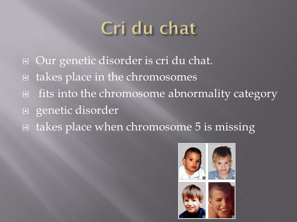  Our genetic disorder is cri du chat.  takes place in the chromosomes  fits into the chromosome abnormality category  genetic disorder  takes pla