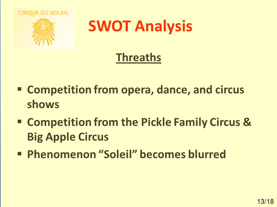"""SWOT Analysis Threaths  Competition from opera, dance, and circus shows  Competition from the Pickle Family Circus & Big Apple Circus  Phenomenon """""""