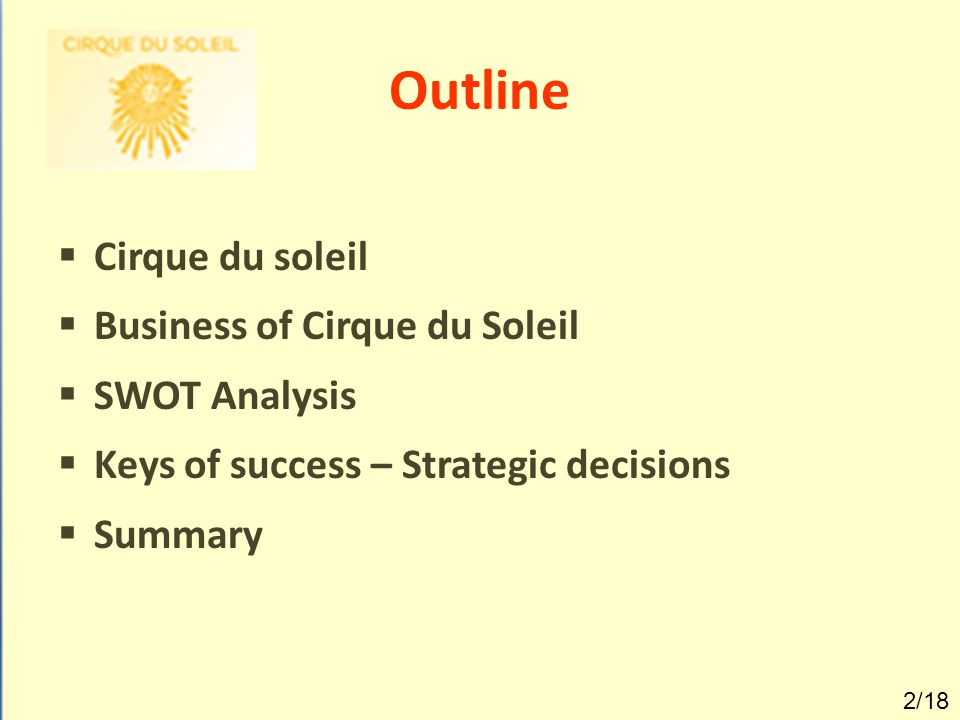 Outline  Cirque du soleil  Business of Cirque du Soleil  SWOT Analysis  Keys of success – Strategic decisions  Summary 2/18