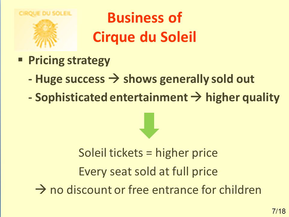 Business of Cirque du Soleil  Majority of revenues = ticket sales  Rest = sponsor partners & concession sales 8/18
