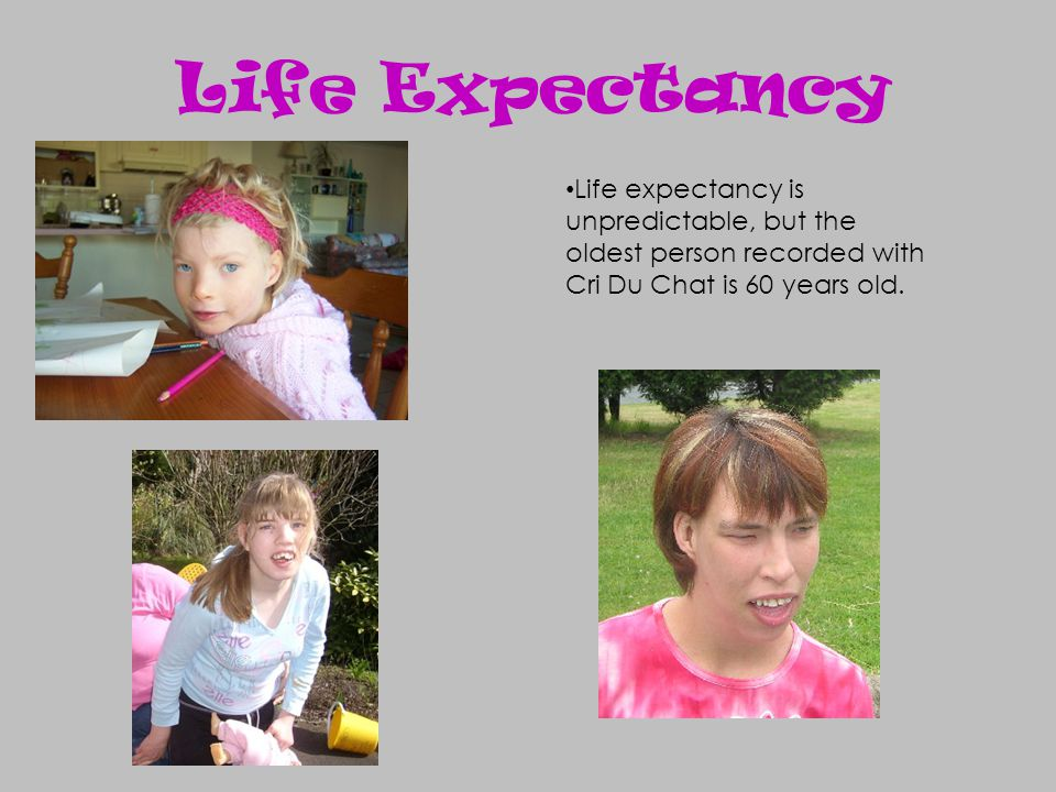 Life expectancy is unpredictable, but the oldest person recorded with Cri Du Chat is 60 years old. Life Expectancy