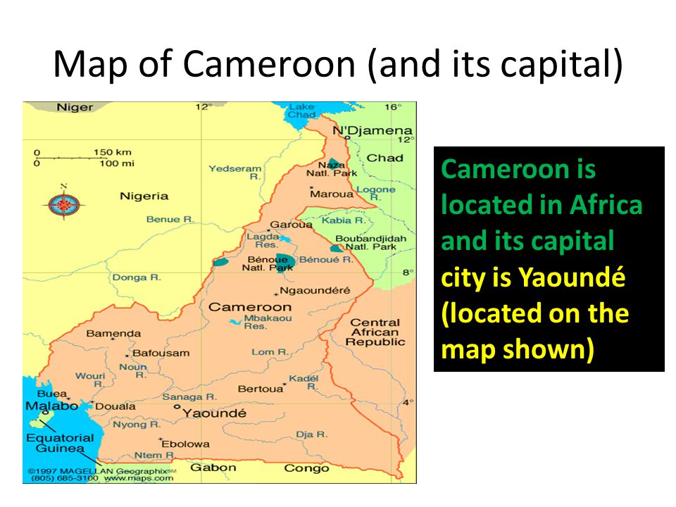 Map of Cameroon (and its capital) Cameroon is located in Africa and its capital city is Yaoundé (located on the map shown)