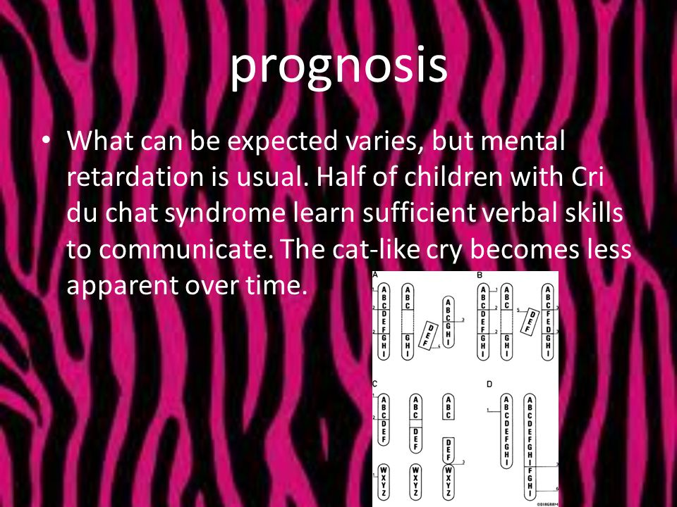 prognosis What can be expected varies, but mental retardation is usual. Half of children with Cri du chat syndrome learn sufficient verbal skills to c