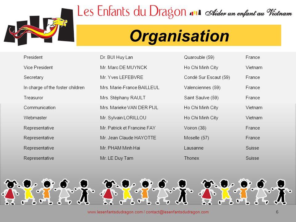 Organisation www.lesenfantsdudragon.com / contact@lesenfantsdudragon.com 6 PresidentDr.
