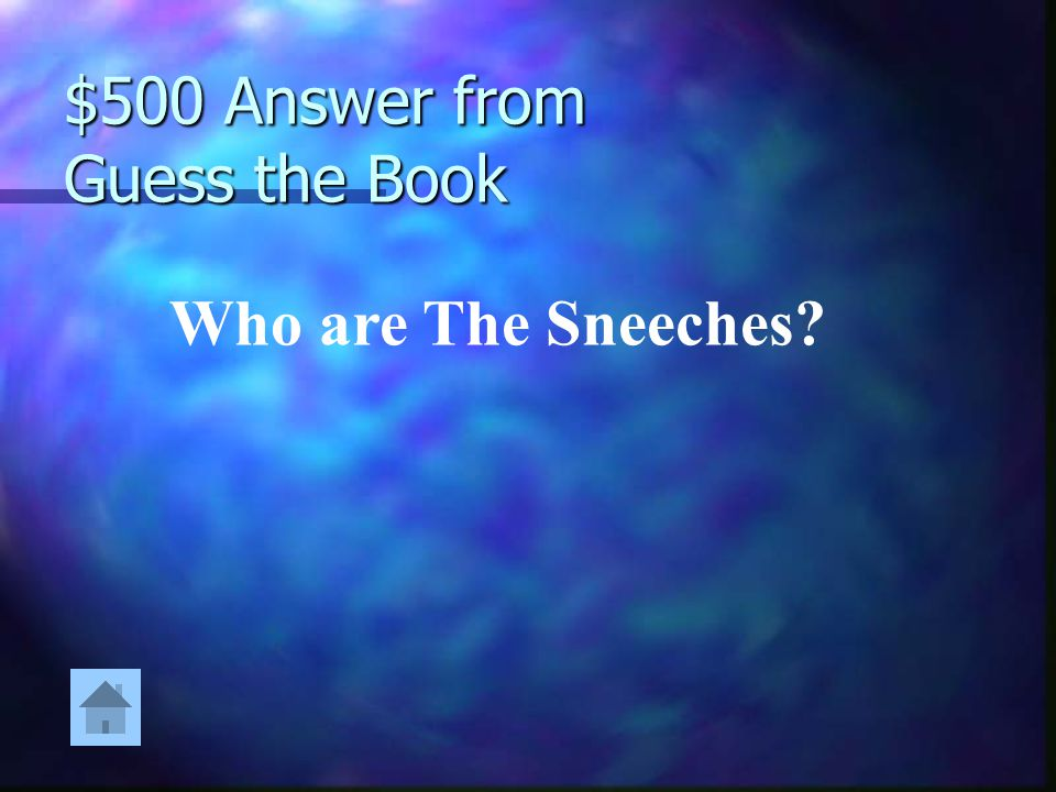 $500 Question from Guess the Book Some had stars upon thars, and they walked proud all about. But they soon learned it was okay with or without.