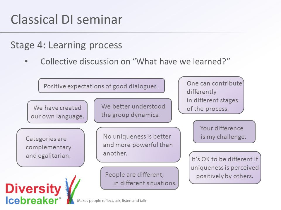 Classical DI seminar Stage 4: Learning process Collective discussion on What have we learned One can contribute differently in different stages of the process.