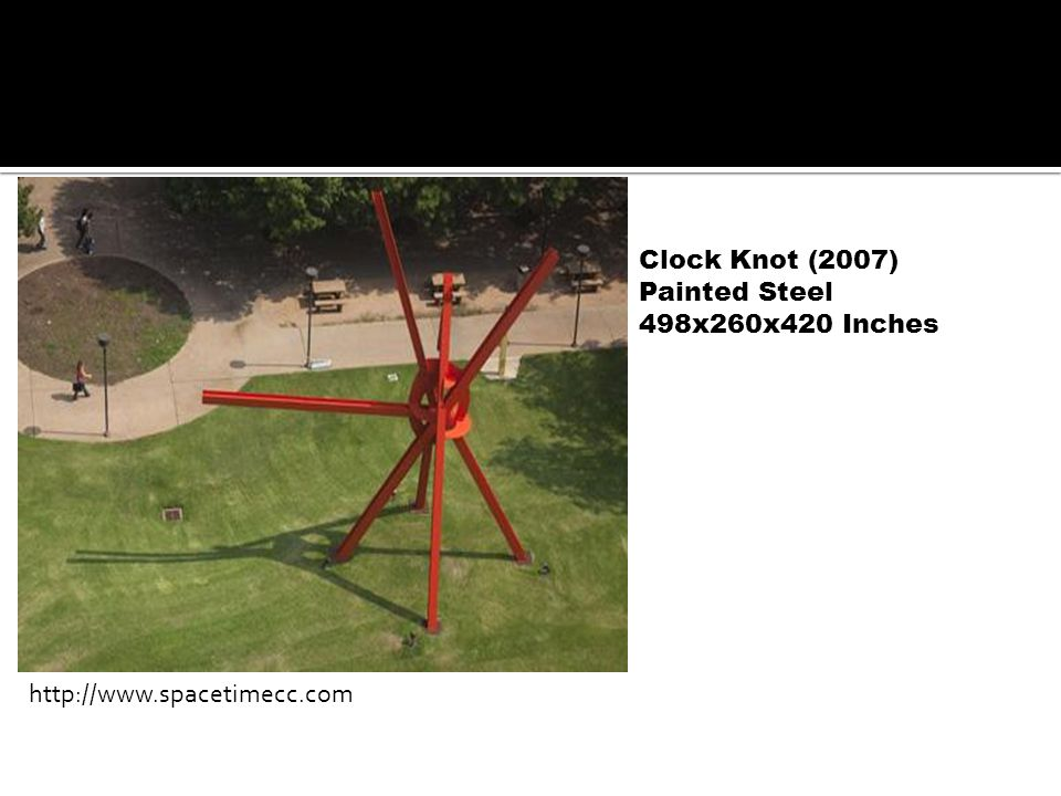 Clock Knot (2007) Painted Steel 498x260x420 Inches http://www.spacetimecc.com