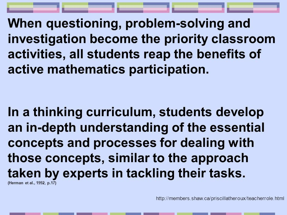 * Prior knowledge * Prior experiences * Culturally defined values and norms * Biological differences in cognitive development * Home environment * Maturity level * Self-efficacy * Culturally determined perceptions of school and learning When we differentiate we build upon: http://www.smcm.edu/academics/EdStudy/d7-Proj/Projects/ResearchSites/acbrowning/index.htm
