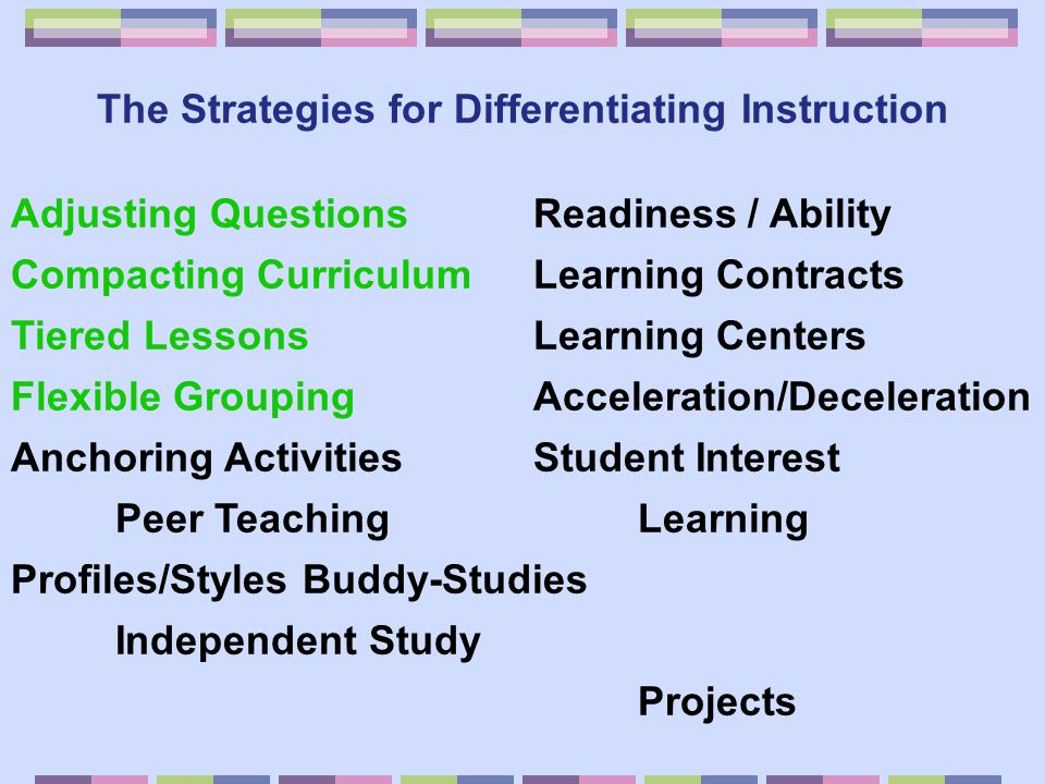 The Strategies for Differentiating Instruction Adjusting Questions Readiness / Ability Compacting Curriculum Learning Contracts Tiered Lessons Learnin