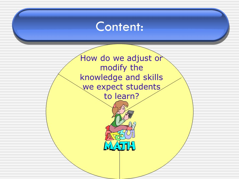 Content: How do we adjust or modify the knowledge and skills we expect students to learn?