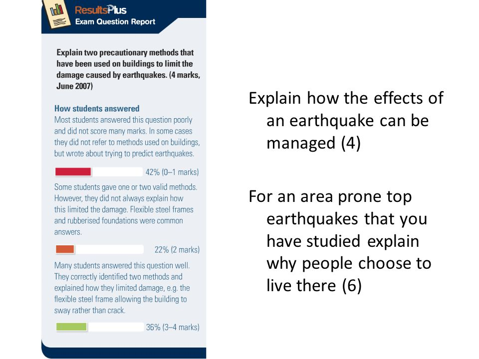 Explain how the effects of an earthquake can be managed (4) For an area prone top earthquakes that you have studied explain why people choose to live there (6)