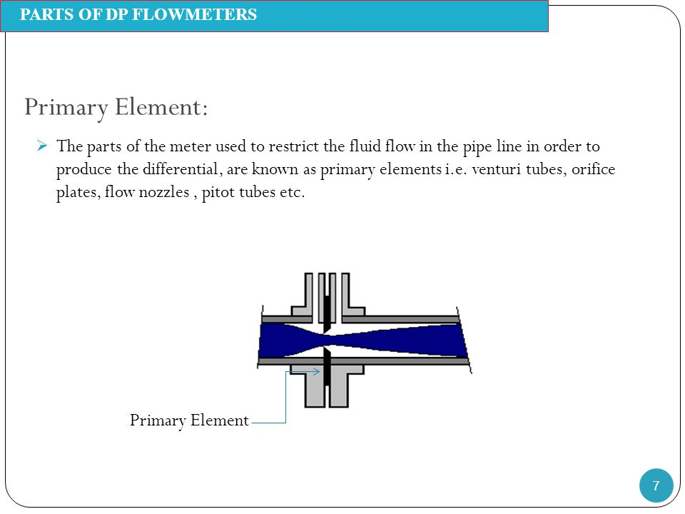 Primary Element: 7  The parts of the meter used to restrict the fluid flow in the pipe line in order to produce the differential, are known as primar