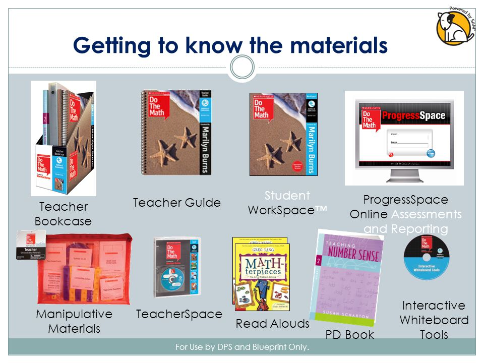 Teacher Bookcase Teacher Guide TeacherSpace PD Book Read Alouds Student WorkSpace™ Manipulative Materials Interactive Whiteboard Tools ProgressSpace Online Assessments and Reporting Getting to know the materials For Use by DPS and Blueprint Only.