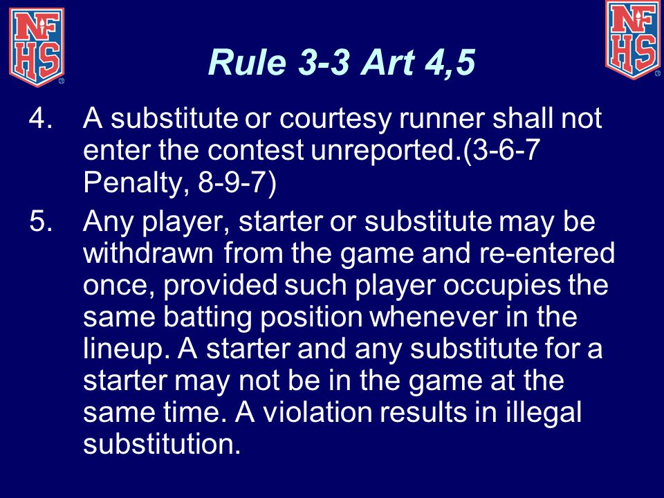 Rule 3-3 Art 4,5 4.A substitute or courtesy runner shall not enter the contest unreported.(3-6-7 Penalty, 8-9-7) 5.Any player, starter or substitute may be withdrawn from the game and re-entered once, provided such player occupies the same batting position whenever in the lineup.
