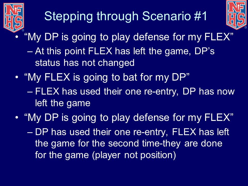 "Stepping through Scenario #1 ""My DP is going to play defense for my FLEX"" –At this point FLEX has left the game, DP's status has not changed ""My FLEX"