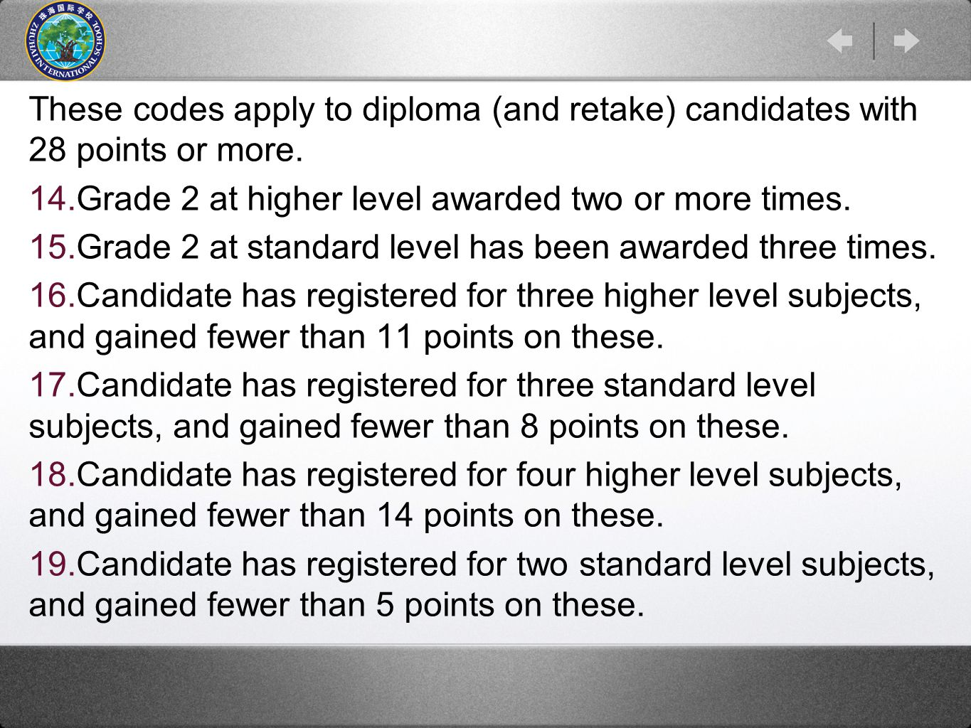 These codes apply to diploma (and retake) candidates with 28 points or more.