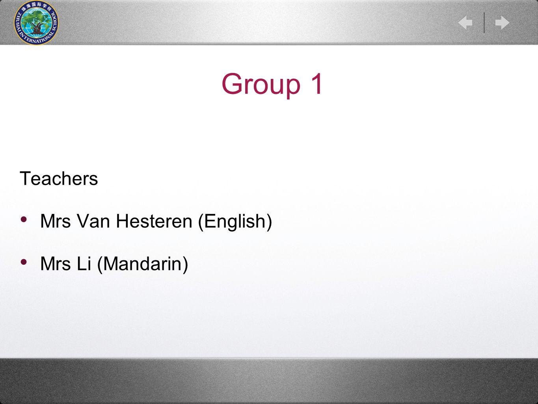 Group 1 Teachers Mrs Van Hesteren (English) Mrs Li (Mandarin)
