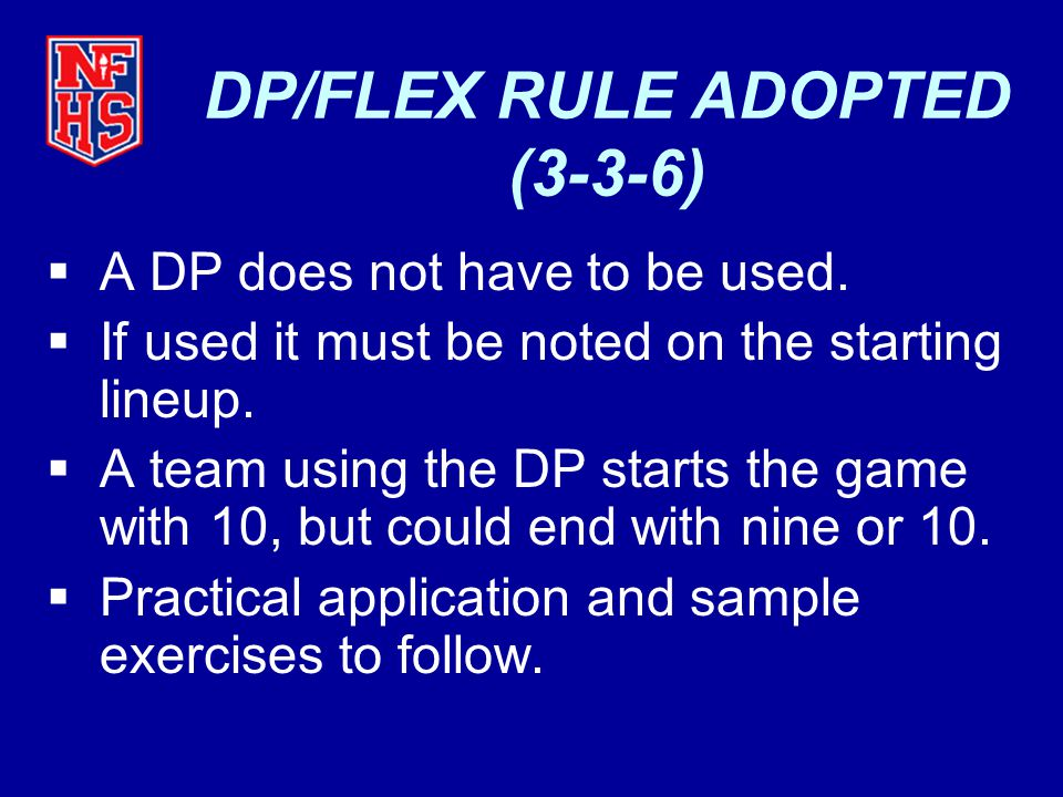  A DP does not have to be used. If used it must be noted on the starting lineup.