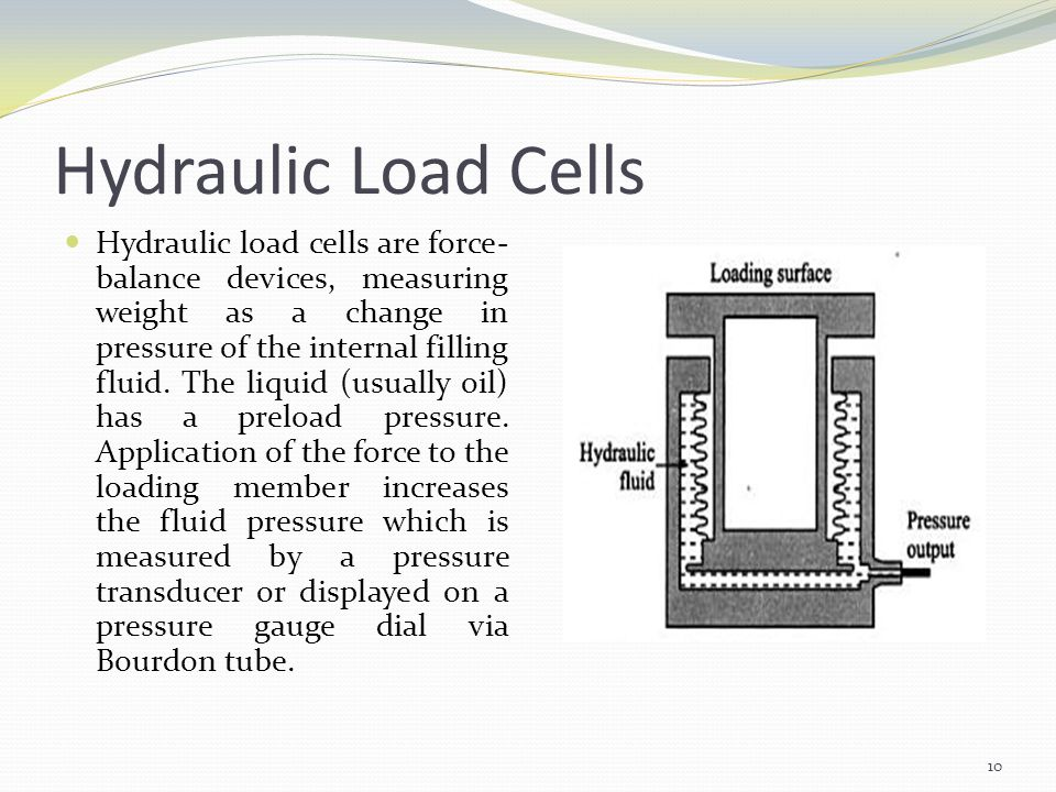 Hydraulic Load Cells Hydraulic load cells are force- balance devices, measuring weight as a change in pressure of the internal filling fluid. The liqu