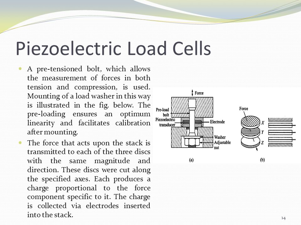 Piezoelectric Load Cells A pre-tensioned bolt, which allows the measurement of forces in both tension and compression, is used. Mounting of a load was