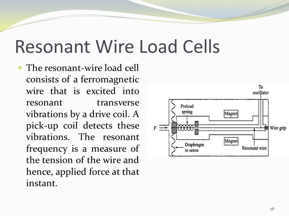 Resonant Wire Load Cells The resonant-wire load cell consists of a ferromagnetic wire that is excited into resonant transverse vibrations by a drive c