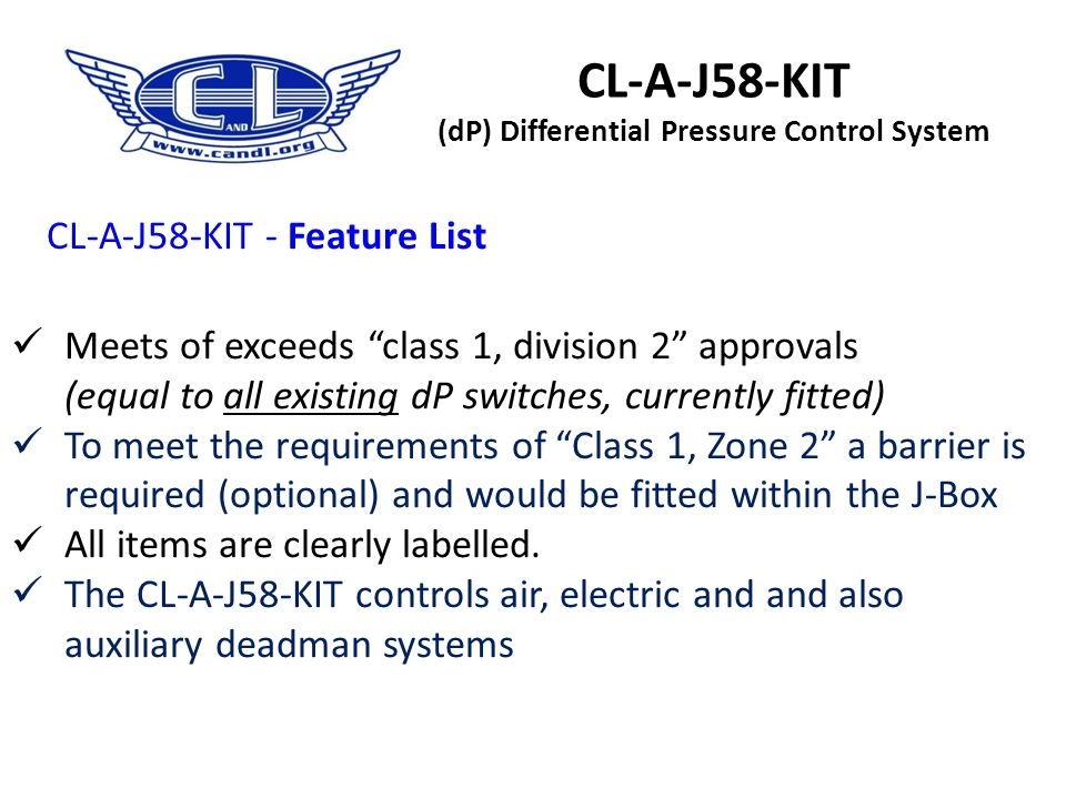 CL-A-J58-KIT (dP) Differential Pressure Control System LED warning light. Standard fit is on the J-Box but it can be mounted on the operating panel or