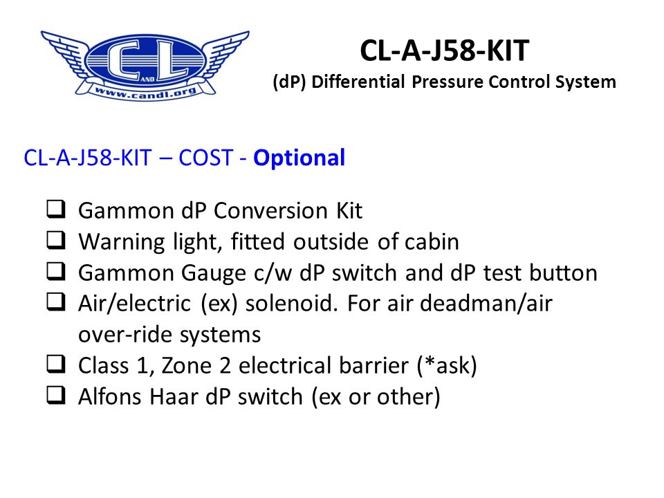 CL-A-J58-KIT (dP) Differential Pressure Control System a)Total price is dependant on the make of your dP gauge being Alfons Haar or Gammon b)If your d