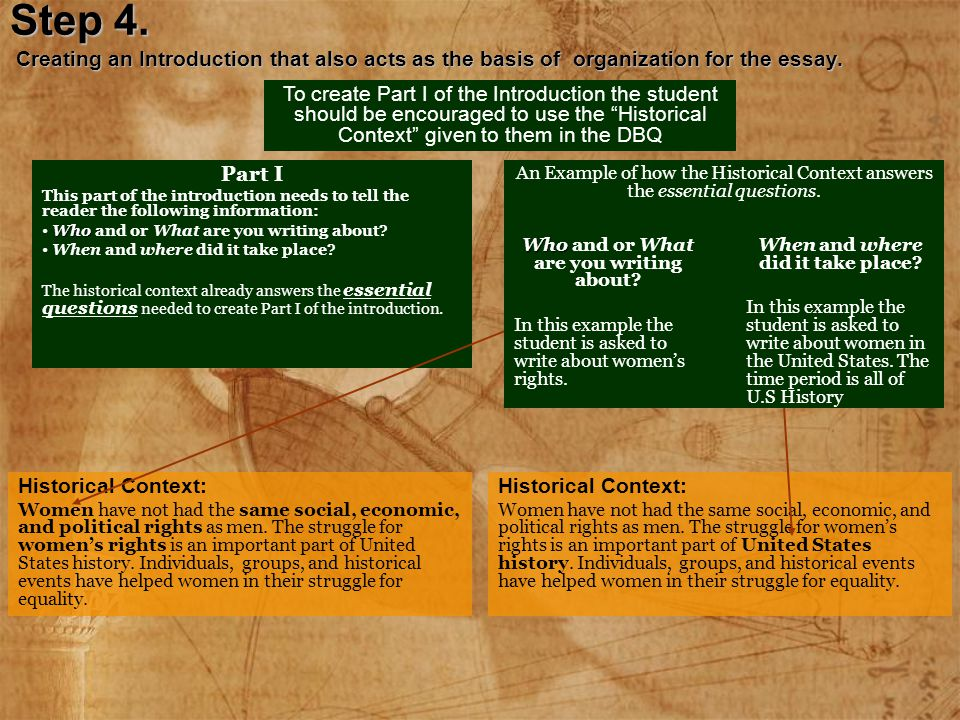 Step 4. Creating an Introduction that also acts as the basis of organization for the essay. To create Part I of the Introduction the student should be