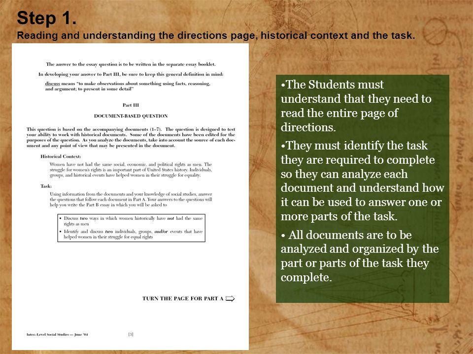 The Students must understand that they need to read the entire page of directions. They must identify the task they are required to complete so they c