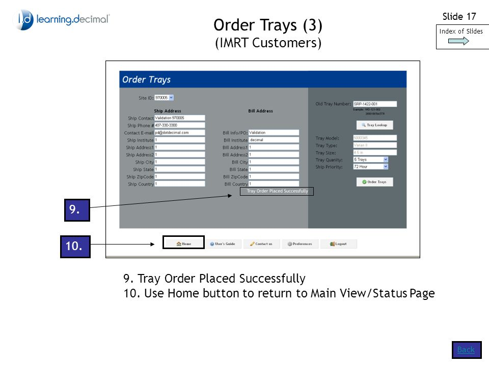 Slide Tray Order Placed Successfully 10.