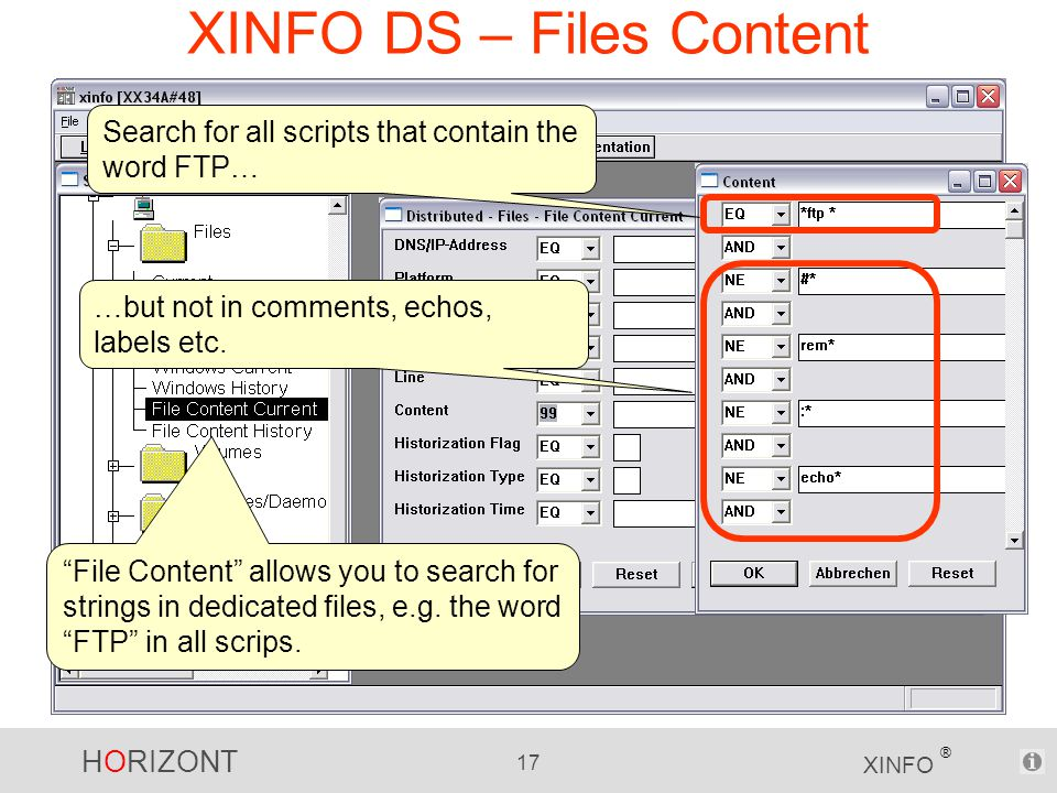 HORIZONT 17 XINFO ® XINFO DS – Files Content File Content allows you to search for strings in dedicated files, e.g.