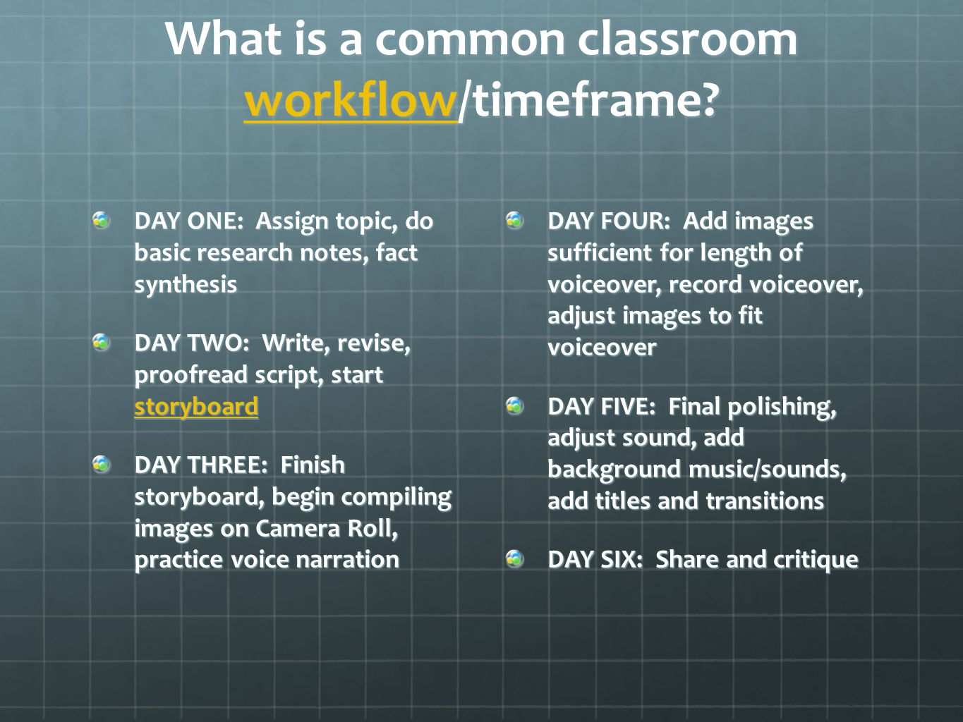 What is a common classroom workflow/timeframe.
