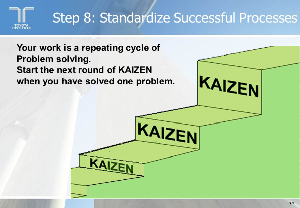 57 Your work is a repeating cycle of Problem solving. Start the next round of KAIZEN when you have solved one problem. Step 8: Standardize Successful
