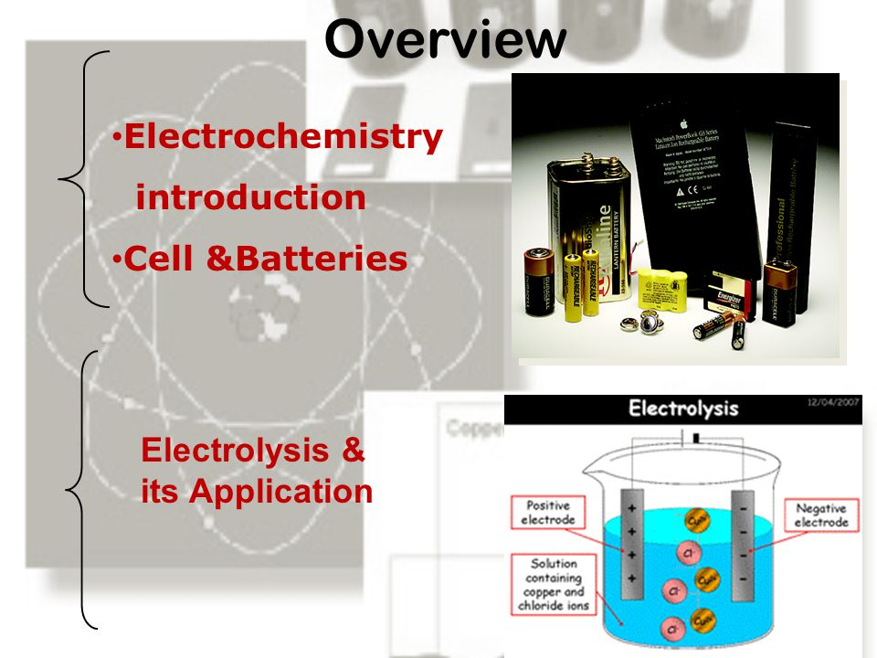 Overview Electrochemistry introduction Cell &Batteries Electrolysis & its Application