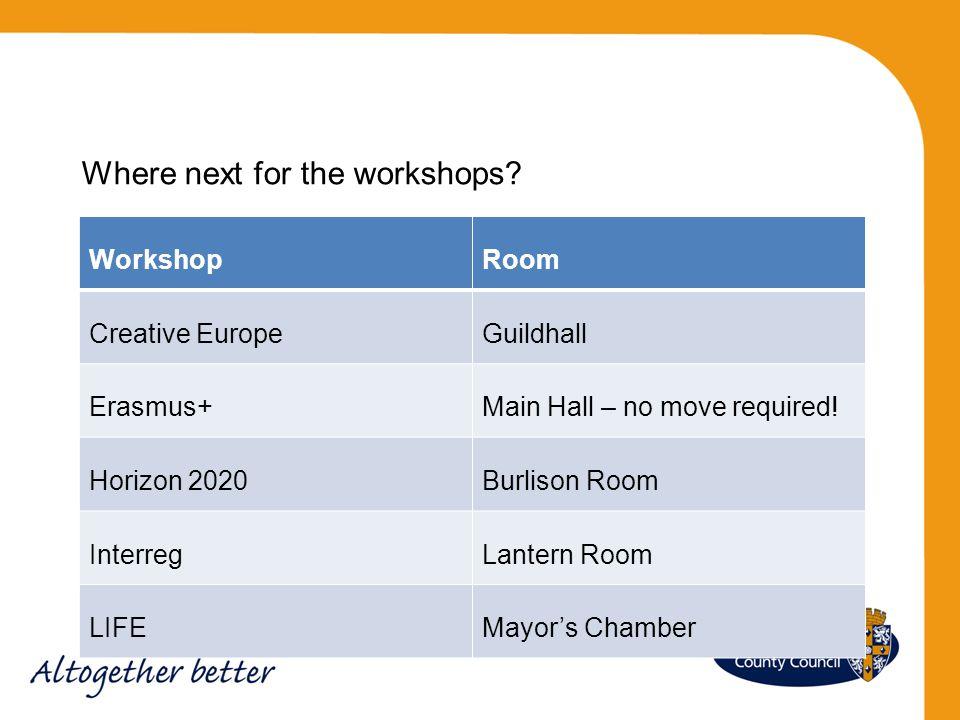 WorkshopRoom Creative EuropeGuildhall Erasmus+Main Hall – no move required! Horizon 2020Burlison Room InterregLantern Room LIFEMayor's Chamber Where n