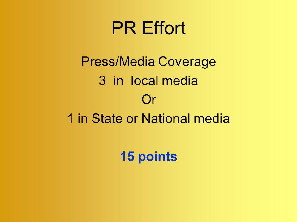 PR Effort Press/Media Coverage 3 in local media Or 1 in State or National media 15 points