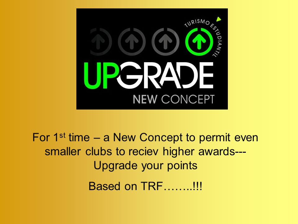 For 1 st time – a New Concept to permit even smaller clubs to reciev higher awards--- Upgrade your points Based on TRF……..!!!