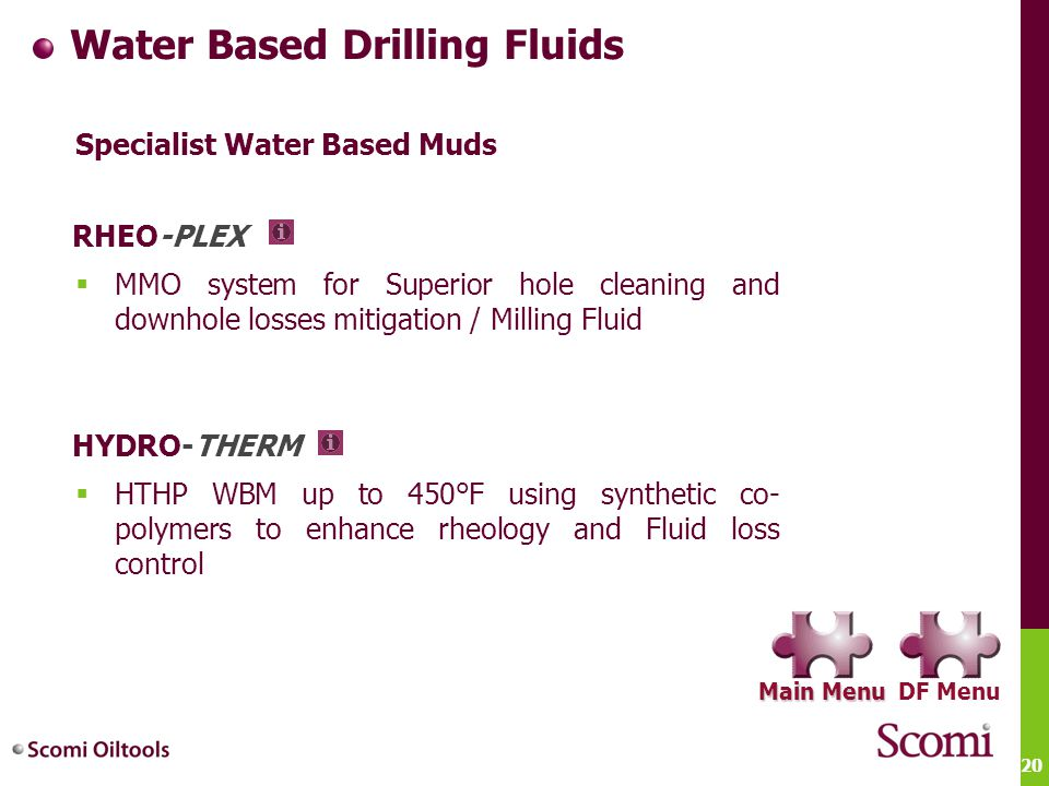 20 Water Based Drilling Fluids Specialist Water Based Muds  MMO system for Superior hole cleaning and downhole losses mitigation / Milling Fluid  HT