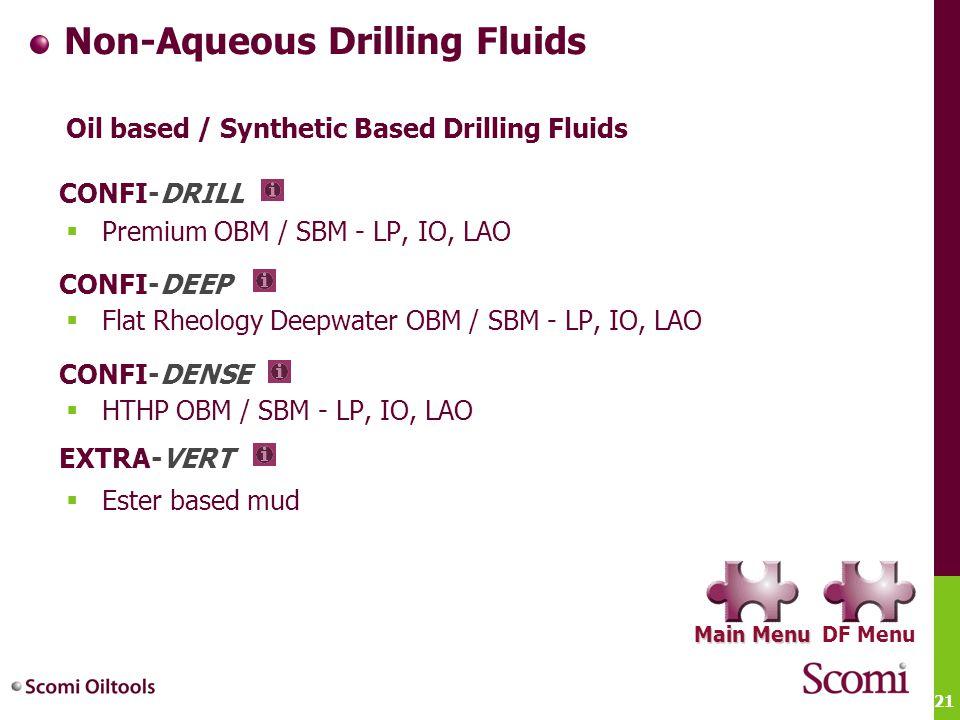 21 Non-Aqueous Drilling Fluids Oil based / Synthetic Based Drilling Fluids  Premium OBM / SBM - LP, IO, LAO  Flat Rheology Deepwater OBM / SBM - LP,