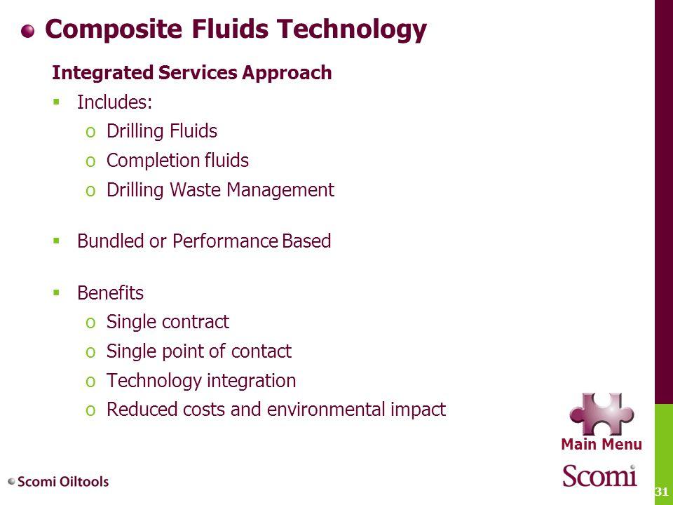31 Composite Fluids Technology Integrated Services Approach  Includes: oDrilling Fluids oCompletion fluids oDrilling Waste Management  Bundled or Pe