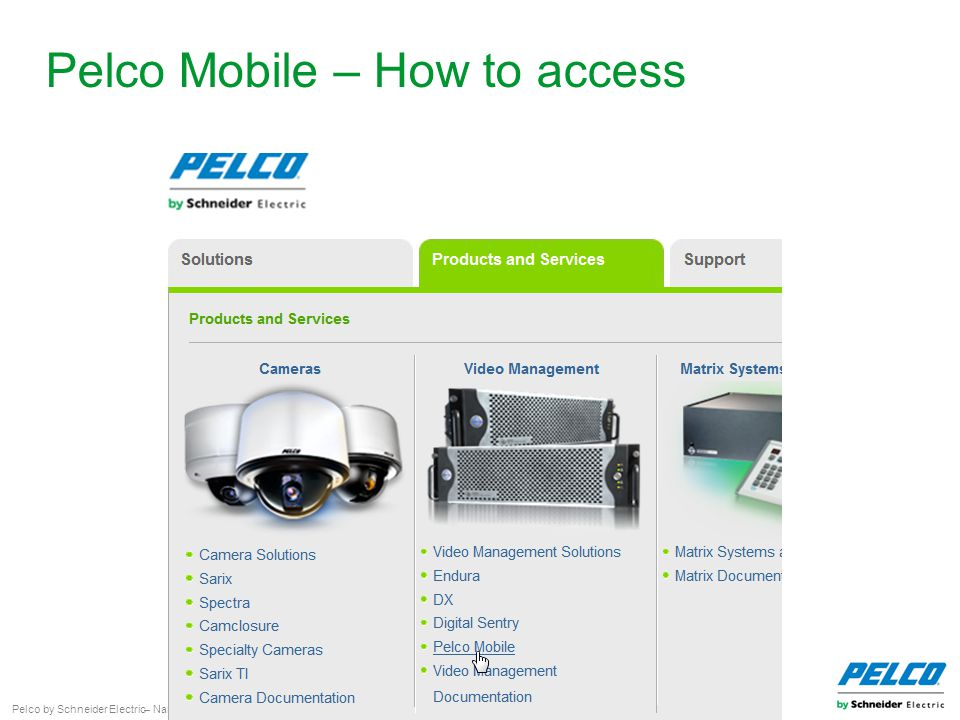 Pelco by Schneider Electric– Name – Date Pelco Mobile – How to access