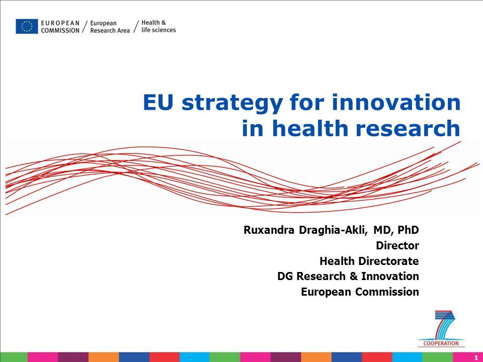 1 EU strategy for innovation in health research Ruxandra Draghia-Akli, MD, PhD Director Health Directorate DG Research & Innovation European Commission