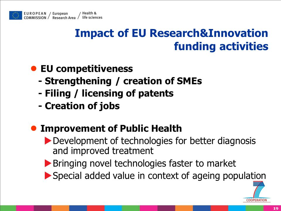 19 Impact of EU Research&Innovation funding activities ● EU competitiveness - Strengthening / creation of SMEs - Filing / licensing of patents - Creat