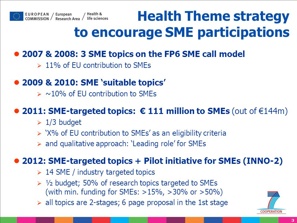 3 Health Theme strategy to encourage SME participations ● 2007 & 2008: 3 SME topics on the FP6 SME call model  11% of EU contribution to SMEs ● 2009 & 2010: SME 'suitable topics'  ~10% of EU contribution to SMEs ● 2011: SME-targeted topics: € 111 million to SMEs (out of €144m)  1/3 budget  'X% of EU contribution to SMEs' as an eligibility criteria  and qualitative approach: 'Leading role' for SMEs ● 2012: SME-targeted topics + Pilot initiative for SMEs (INNO-2)  14 SME / industry targeted topics  ½ budget; 50% of research topics targeted to SMEs (with min.