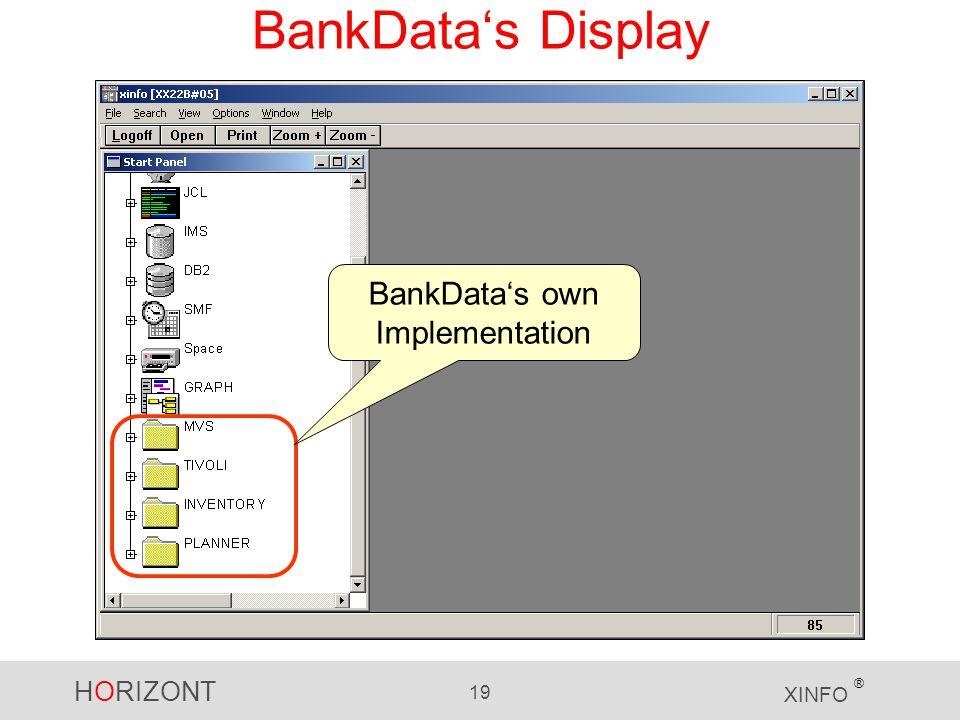 HORIZONT 19 XINFO ® BankData's Display BankData's own Implementation