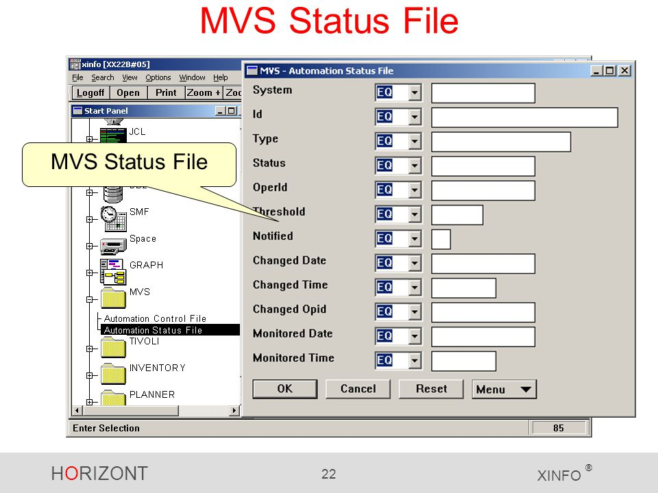 HORIZONT 22 XINFO ® MVS Status File